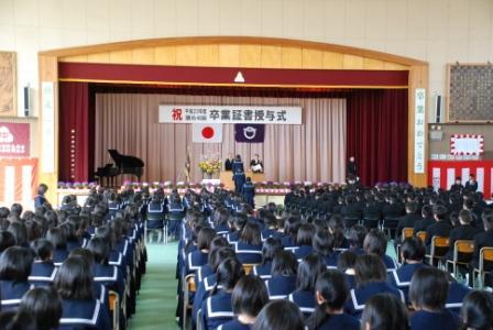 『境第一中学校卒業式の様子です』の画像