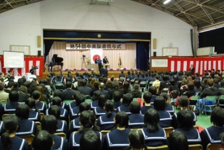 『境第二中学校卒業式の様子です』の画像