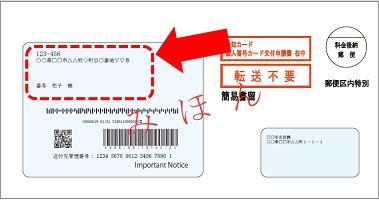 『通知カード送付封筒の住所を確認してください』の画像