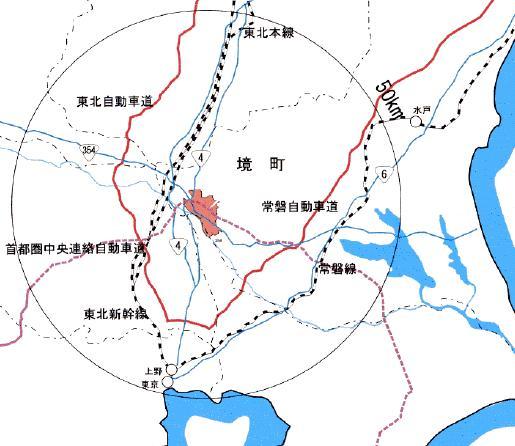 『境町の位置を表示している画像です。』の画像