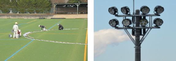 『サッカーフィールド整備の様子』の画像