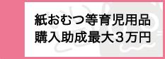 『『紙おむつ等育児用品購入助成金最大三万円』の画像』の画像