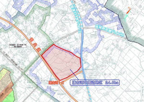 『境古河IC周辺地区位置図(開通後)』の画像