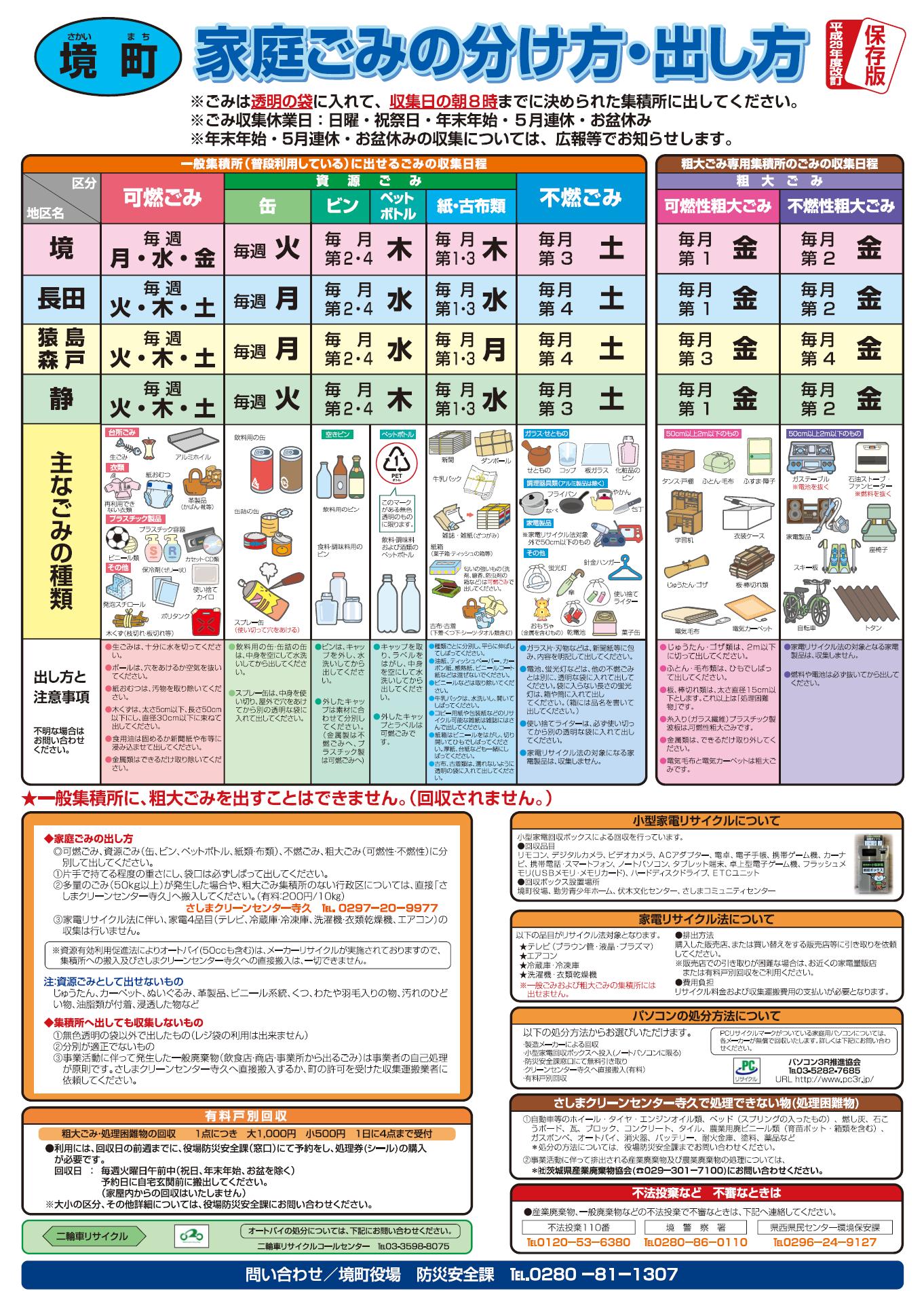 『家庭ごみの分け方・出し方 保存版 平成29年度改定』の画像