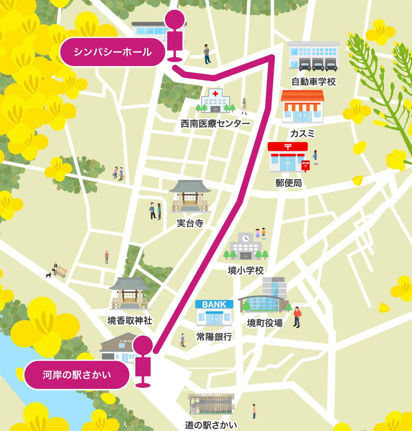 『自動運転バス経路図』の画像